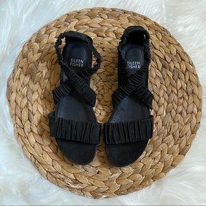 Eileen Fisher Dylan Black Nubuck Leather Sandal